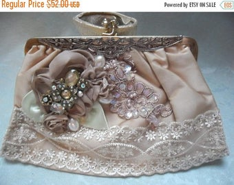 30% OFF Spring Cleaning VINTAGE Purse Handbag Altered Remake Clutch Evening bag Embellished Mothers Day Whisical - Taupe