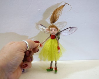 SALE ooak poseable bright spring PIXIE fairy ( #18 ) polymer clay art doll by DinkyDarlings   faerie faery angel