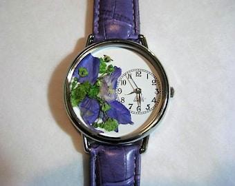 Floral Watch, Women's Watch, Wrist Watch Leather, Larkspur Watch, Purple Watch, Pressed Flower Watch, Baby's Breath Watch, Quartz Watch