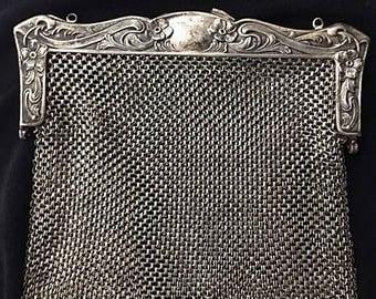 Antique 1900s German Silver Mesh Purse . Art Nouveau Purse .  Vintage Chainmail Purse . Edwardian Metal Purse . 1910s Handbag