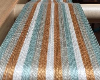 Weaving kit-towels, table runner, placemats-Floor loom-Rigid heddle loom-Handwoven- green, rust, yellow and beige stripes-weaving-Handmade