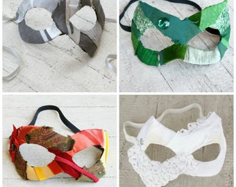 CLEARANCE! - 50% OFF - Simple Gypsy Masquerade Mask - Choose Your Color - OOAK Handmade with Upcycled Elements