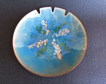 """Bovano of Cheshire CT 7.25"""" Blue Lilacs Enamel Art Plate on Copper, Mid Century Modern American Arts & Crafts Movement"""