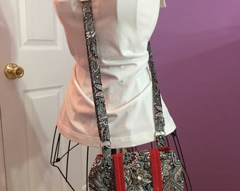 Black, White, and Red Paisley Bella Cross~Body Bag