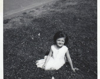 Original Vintage Photograph Snapshot Small Girl Sitting on Grass 1950s-60s
