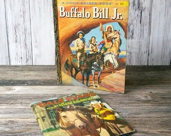 SALE Dale Evans Buffalo Bill Jr Books Kids Books Wester books wild west childrens book 1950s
