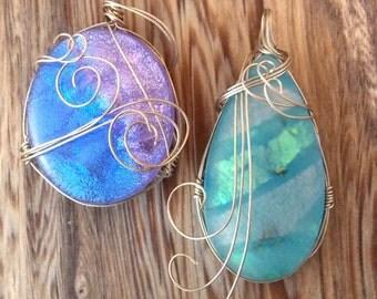Set of 2 Dichroic Glass Pendants