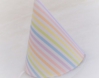 Simple Birthday Party Hat - Pastel Rainbow Stripe - rainbow party, unicorn birthday party, rainbow princess party