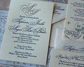 Letterpress Wedding Invitation, Wedding invitation, Monogram wedding invitation, Classic wedding invitations, Wedding invitations, Monogram