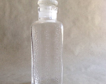 Vintage Hoosier Cabinet Jar with Pour Spout by Poncet Made in Germany Textured Glass Storage Bottle