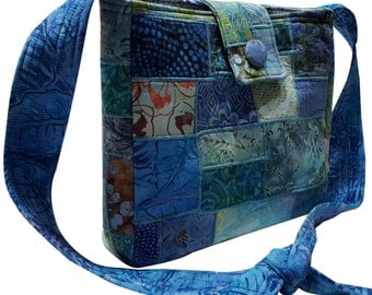 Patchwork Tote Bag in Blue Batik