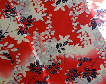 Antique Deco Fabric. Red. Early 1900s Cotton