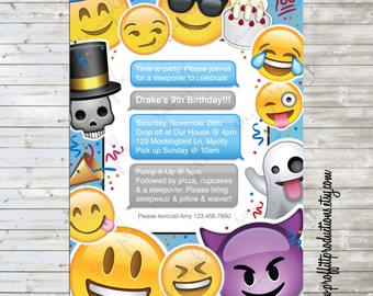 Emoji Text Love birthday party invitation - digital file
