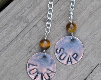 Soap/Lotion Dispenser Charm Tag with Copper Circle Stamped and Tiger Eye Bead