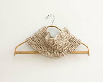SALE, Wool Crochet Beige Cowl Scarf, Infinity Scarf, Beige Neckwarmer, Ready to Ship
