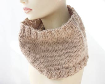 Beige Knit Cowl Scarf, Wool Alpaca Neck Warmer,  Ready to Ship