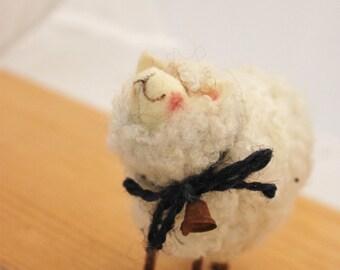 Sheep  White Sheep Prim Needle Felted Sheep #2309