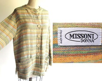 Missoni Linen Shirt / Vintage Missoni 1980s Jacket / Oversized Tunic Silhouette / Linen & Cotton Lagenlook or 80s Big Shirt / Medium size