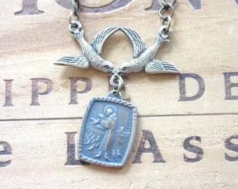 Saint Francis Vintage Replica Religious Medal Necklace with Birds