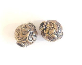 TWO Round Repousse Antiqued Brass Tibetan Beads 16mm Diameter -- BD-BR-7