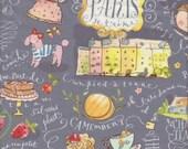 Blend Fabrics Collette Paris Vignettes in Gray - Half Yard