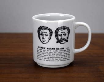 Dykes Beard Elixir Moustache Mug Vintage Ceramic Coffee Cup with Mustache Guard