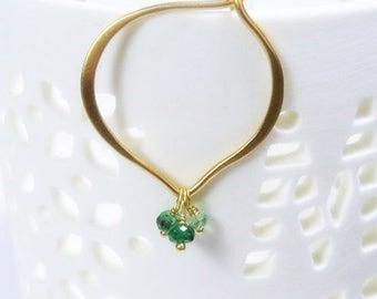 Gold Hoops, Emerald Hoop Earrings, Vermeil, Medium or Large