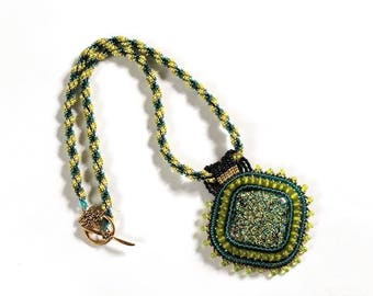 Dichroic glass embroidered necklace