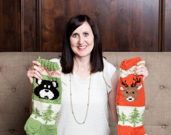 Bear, Christmas Stocking, Christmas Stocking Patterns, Christmas Stocking Design, Christmas Knitting, Forest Friends Collection, Forest