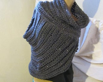 Dark Gray Cowl Neck Asymmetrical Vest/Katniss Everdeen Style Sweater