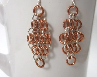 Chainmaille Diamond Earrings Euro 4-in1 weave Copper and Aluminum
