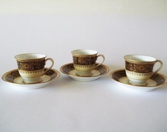 Noritake Demitasse Cups & Saucers, Made in Occupied Japan, Cobalt Blue and Gold Porcelain, 3 Sets Plus 5 Extra Saucers, 1948-1952 Japan