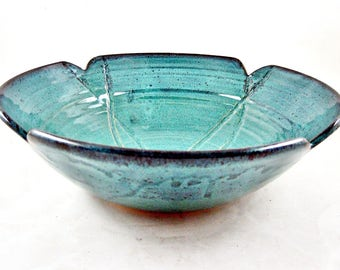 Teal blue poppy bowl, decorative pottery bowl, Handmade Blue pottery bowl - In stock