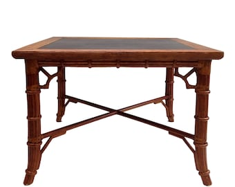 Vintage Faux Bamboo Card/Dining Table Fretwork Hollywood Regency