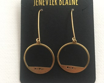 Golden Stamped Dot Earrings