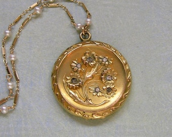 Antique Art Nouveau Gold Filled Locket Necklace Wire Wrapped With White Pearls, Art Nouveau Locket Necklace (N103)