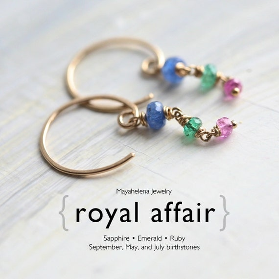 Royal Affair - Genuine Sapphire, Emerald, Ruby Gold Filled Earrings