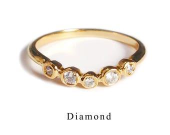 Anniversary ring with Diamond (K10 April birthstone)