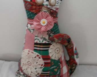 PATCHWORK CHRISTMAS CAT Vintage Crochet doily, Gingham Neck Bow Ooak Cat Pillow 20% off coupon Early Christmas