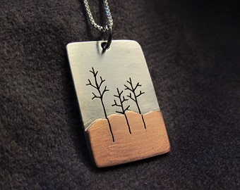 Sterling and copper Tree Trio pendant
