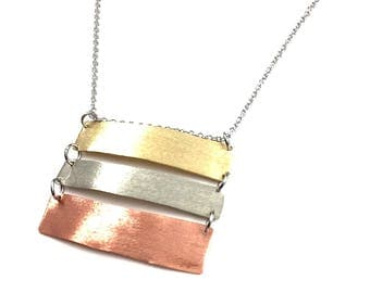 Long Necklace Bar Necklace Handmade Mixed Metal Pendant