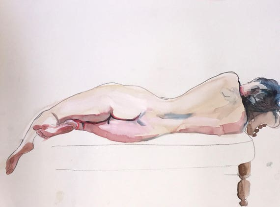 Nude painting-Original watercolor painting of Nude #1402 by Gretchen Kelly