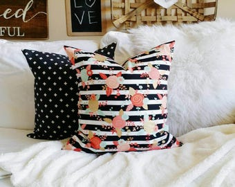 Stripes and Roses Pillow Cover- Pink, black, gold and Mint- fits 20x20 Pillow Form