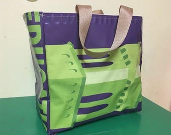 Upcycled vinyl shopping bag - market tote