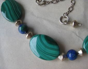 Azurite Malachite Blue Green Necklace Sterling Bead Silver Vintage 925 Stone Demi