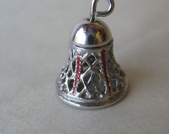 Bell Filigree Sterling Charm Silver Vintage Red 925