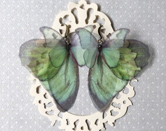 I Will Fly Away - Handmade Silk Organza Aqua Light Teal Butterfly and Wings Earrings