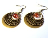 "Earrings, Antique Bronze Amber Glass Bead Fancy Drops, 2 1/4"" Long, Gift for her, Boho Gypsy Style"