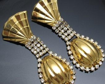 Long Rhinestone Earrings Unique Vintage Fan Jewelry Kim E3972