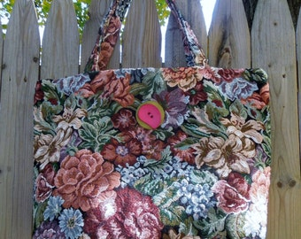 English Garden Floral Tapestry Tote Bag, Knitting Bag